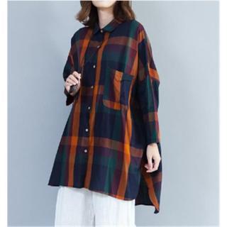 チェックシャツ 長袖 ビッグサイズ 秋 羽織もの スリット(シャツ/ブラウス(半袖/袖なし))