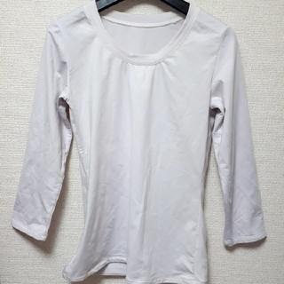 裏起毛トップス 防寒インナー カットソー 白 ホワイト XLサイズ(アンダーシャツ/防寒インナー)