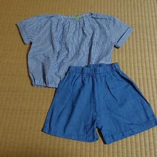 シマムラ(しまむら)のしまむらストライプトップス+デニムショーパン セット (Tシャツ/カットソー)