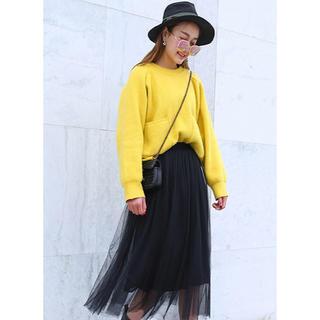 ミディ丈 ミモレ丈 ふんわり シンプル カジュアル チュールスカート ブラック(ロングスカート)