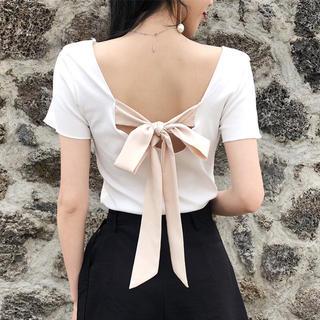 背中開き 肌魅せ Tシャツ バックリボン 半袖 シンプル 白(Tシャツ(半袖/袖なし))