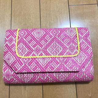 中古品 ピンク×ネオンイエロー クラッチバッグ(クラッチバッグ)