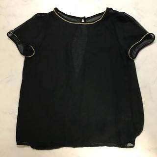 ジーユー(GU)の黒トップス シースルー(シャツ/ブラウス(半袖/袖なし))