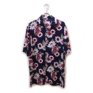 新品 アロハシャツ メンズ L・M ネイビー×パープル (シャツ)
