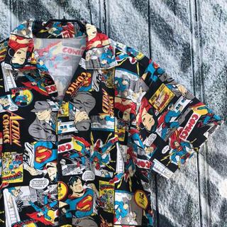 ヴィンテージ 総柄 オープンカラーシャツ スーパーマン柄 古着(シャツ)