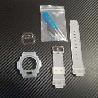 ジーショック(G-SHOCK)のG-SHOCK DW-6900 半透明スケルトン白 ベゼル バンドベルト セット(腕時計(デジタル))