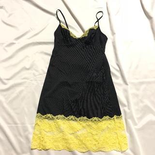 黒✕シルバー ピンストライプキャミワンピ XSサイズ 黄レース(キャミソール)