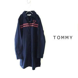 トミー(TOMMY)のトミー TOMMY★コットンシャツワンピース 星柄 ネイビー M 羽織としても♪(ひざ丈ワンピース)