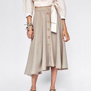 ザラ(ZARA)の完売 未使用 ZARA 正規品 リネンスカート  XS(ひざ丈スカート)