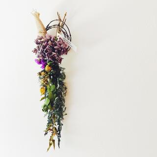 紫陽花のスワッグ2   ナローパープル(ドライフラワー)