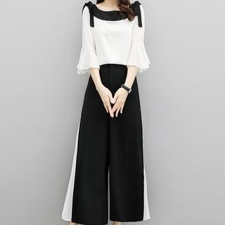 パンツ セットアップ ドレス ツーピース プリーツ リボン ラッフル フリル袖(その他ドレス)