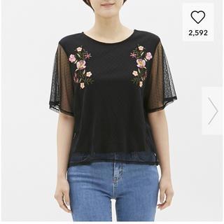 ジーユー(GU)の新品タグ付き☆ドットチュールT(5分袖)(フラワー)ON(Tシャツ(半袖/袖なし))