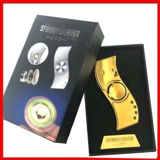 2in1 USB電熱ライター  LEDハンドスピナー  ゴールド(がらがら/ラトル)