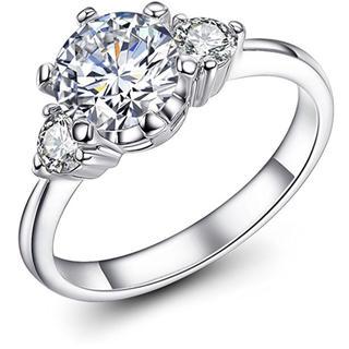 婚約指輪 ジルコニア K18 ホワイトゴールド 3粒 2ct 細身(リング(指輪))