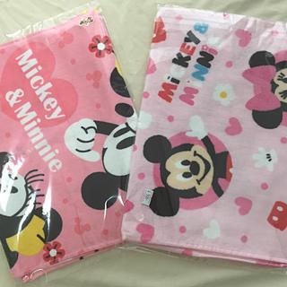 ディズニー(Disney)のDisneyミニー&ミッキーロングフェイスタオル(新品、2枚セット)(タオル)