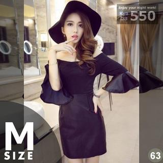 キャバドレス 63 黒 ボディコン ミニ ドレス 半袖 レザー調 S-M-L(ミニドレス)