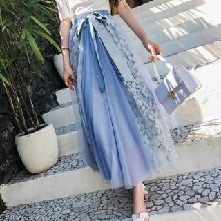 大人気スカート♡ウエストリボンシフォンロングスカート(ロングスカート)