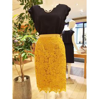 ジャスグリッティー(JUSGLITTY)の美品♡オータムレースタイトスカート(ひざ丈スカート)