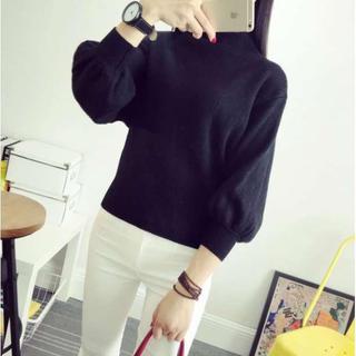限定セール◎ボトルネック バルーン袖 ゆったりニット ブラック  フリーサイズ(ニット/セーター)