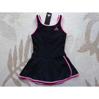 cf6d03f467c 新品タグ付♪150♪アディダスadidasスカート付ワンピース水着♪黒×ピンク