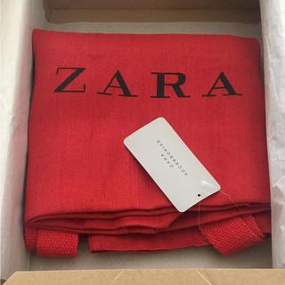 ZARA - 完売品 ザラ ジュート 麻 トート バッグ 赤 レッド ビッグバッグ サンダル