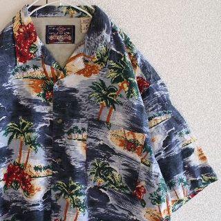 US GARLAND SPORT 総柄 半袖 オープンカラー シャツ L(シャツ)
