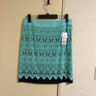 ニジュウサンク(23区)の新品タグ付 大きいサイズ レーススカート(ひざ丈スカート)