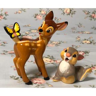 ディズニー(Disney)の( 美品 ) Disney 「 小鹿のバンビ 」 陶器製  バンビ & とんすけ(置物)