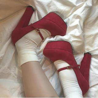 ロキエ(Lochie)のvintage pumps heel red パンプス ヒール 厚底(ハイヒール/パンプス)