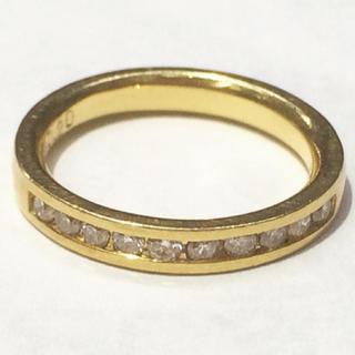 K18 ハーフ エタニティリング★ダイヤモンド ピンキーリング(リング(指輪))