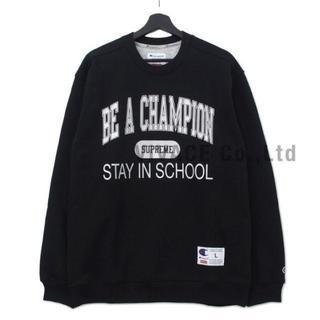 シュプリーム(Supreme)のChampion Stay In School Crewneck 黒L(スウェット)