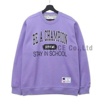 シュプリーム(Supreme)のChampion Stay In School Crewneck 紫S(スウェット)