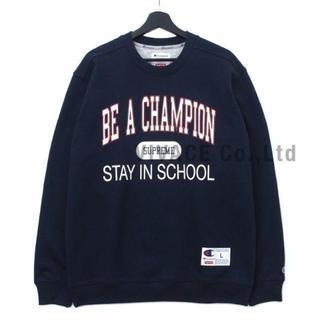 シュプリーム(Supreme)のChampion Stay In School Crewneck 紺M(スウェット)