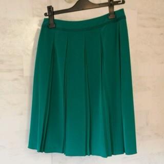 インディヴィ(INDIVI)のグリーン プリーツスカート(ひざ丈スカート)