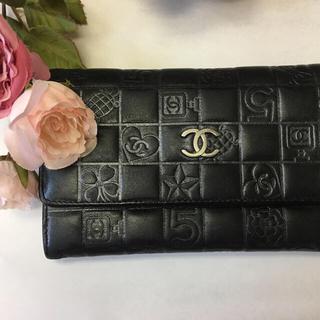 シャネル(CHANEL)のシャネルアイコン中財布 黒 綺麗目 (財布)