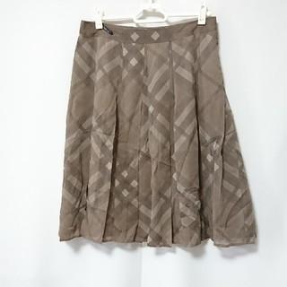 バーバリー(BURBERRY)のバーバリー ロンドン リネン プリーツスカート 38(ひざ丈スカート)
