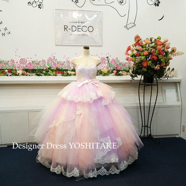 ウエディングドレス(パニエ無料) ピンク虹色スカート 二次会/披露宴 レディースのフォーマル/ドレス(ウェディングドレス)の商品写真