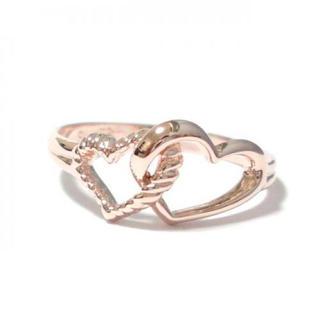 3号 ピンキー ダブルハート ピンクゴールドリング(リング(指輪))