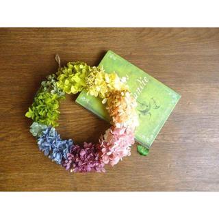 アジサイの虹色ふんわりリース ーNANAIRO(プリザーブドフラワー)