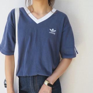 アディダス(adidas)の90s adidas ブルー×ホワイトライン Tシャツ ロゴ刺繍 (Tシャツ(半袖/袖なし))