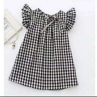大人気!☆130☆ギンガムチェックシャツ、チュニック、ワンピース☆韓国子供服(ワンピース)