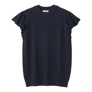 ジーユー(GU)のGU フリルスリーブセーター(シャツ/ブラウス(半袖/袖なし))