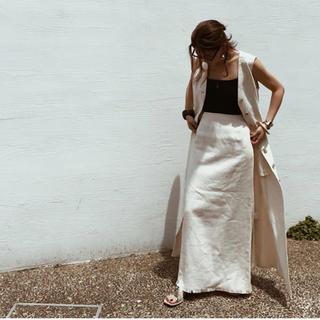 メゾンドリーファー(Maison de Reefur)のETRE TOKYO リネンスカート オフホワイト(ロングスカート)