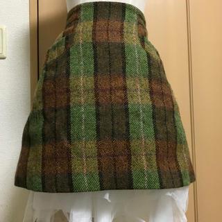 ヴィヴィアンウエストウッド(Vivienne Westwood)のヴィヴィアン グリーン ツイード チェック スカート(ミニスカート)