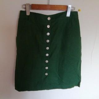 ジエンポリアム(THE EMPORIUM)のリネン混レーヨン グリーンの前ボタンスカート ナチュラル(ひざ丈スカート)