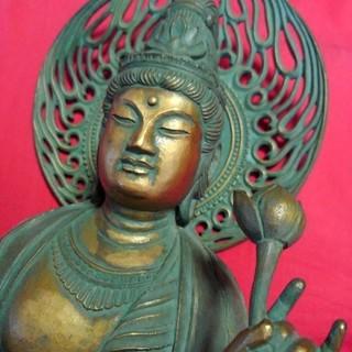 サマーセール 松久宗琳作 聖観音座像のブロンズ像(彫刻/オブジェ)