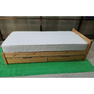 MUJI (無印良品) - 無印 MUJI パイン材 シングルベッド マットレス ベッド下収納 フルセット