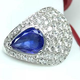 1411 タンザナイト3.00ct ダイヤモンド3.178ct PT900リング(リング(指輪))