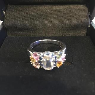 パラジウムシルバー950ブルームーンストーン  ファンシーカラーサファイアリング(リング(指輪))