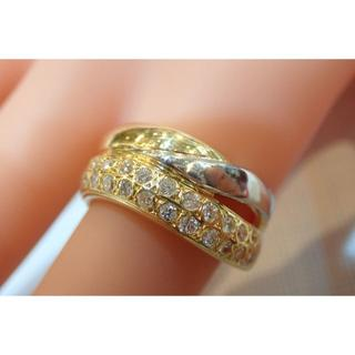 ■K18/Pt900 0.52ct ダイヤモンドファッションリング■指輪■コンビ(リング(指輪))